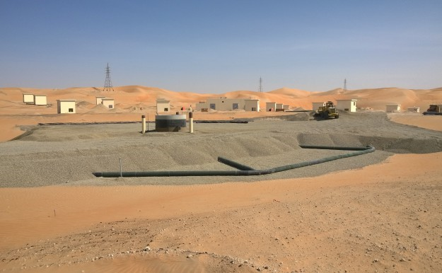 FIGURE 1: REALISATION OF A SUBSURFACE INFILTRATION BASIN WITH 105 ASR WELLS IN THE LIWA DESERT.