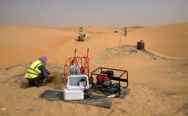 FIGURE 3: SAMPLING OF GROUNDWATER IN THE LIWA DESERT (ABU DHABI).